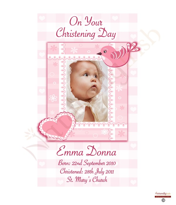 Girl Heart Bird And Photo Christening Candle White Ivory