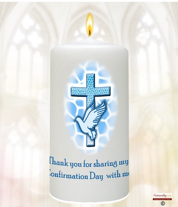 Cross And Dove Blue Confirmation Candle 187 Naturally Irish