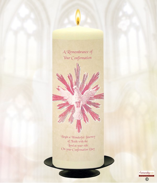 Pink Dove Confirmation Candle 187 Naturally Irish