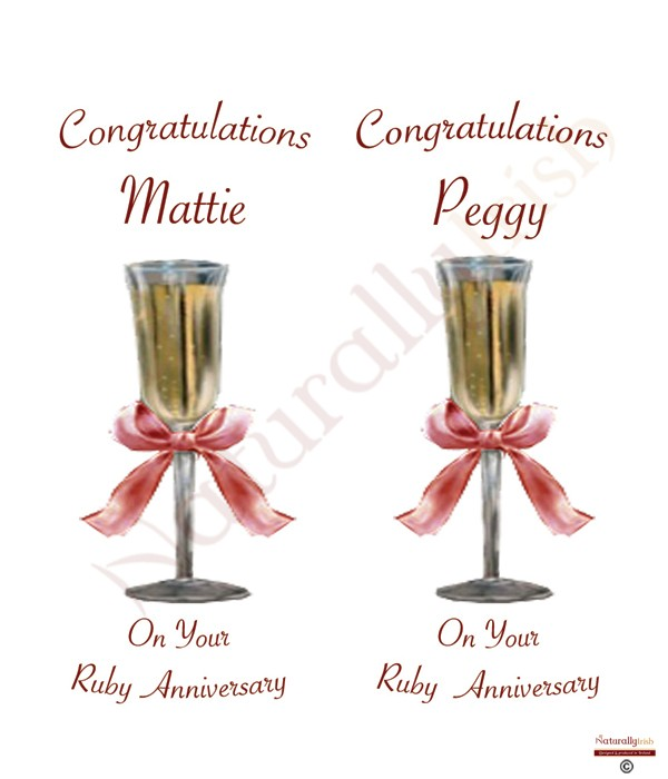 Champagne Glasses Happy Ruby Wedding Anniversary Candles
