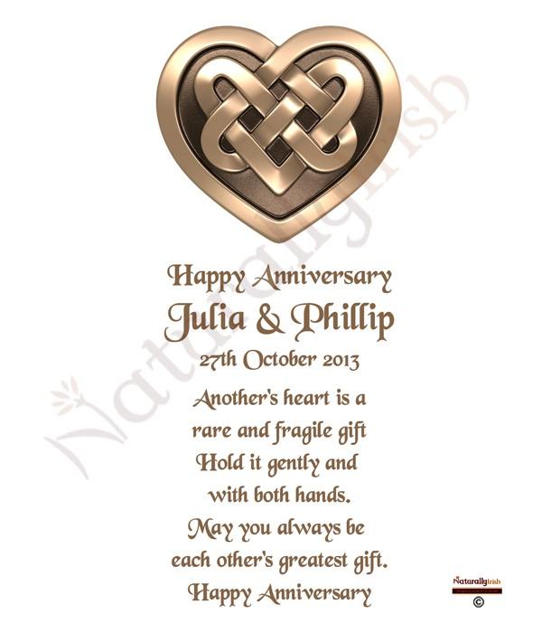 Wedding Gift Registry Ireland: Gold Happy Anniversary Celtic Heart Candles » Naturally Irish