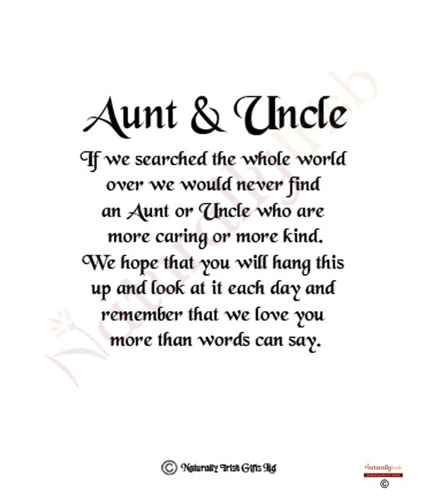 naturally irish aunt and uncle 8x6 verse photo frame. Black Bedroom Furniture Sets. Home Design Ideas