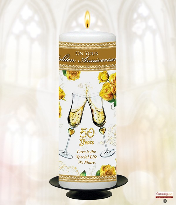 Naturally Irish Champers 50th Anniversary 9inch Candle