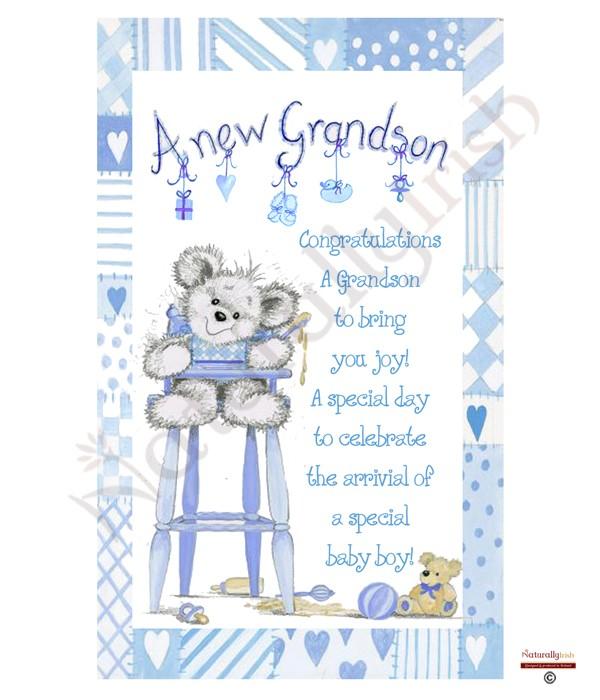Cute Teddy New Grandson Candle White 187 Naturally Irish