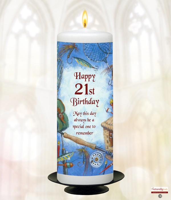 21st Fishing Birthday Candle (White) 9