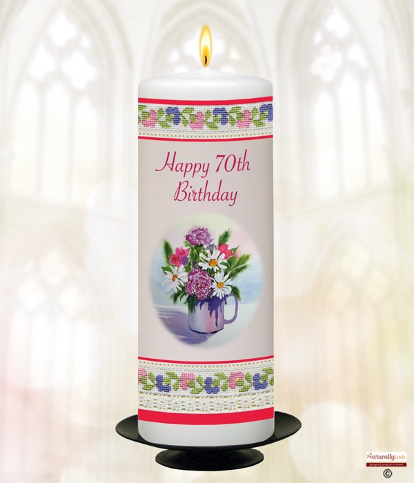 Naturally Irish Happy 70th Birthday Lace Candle White