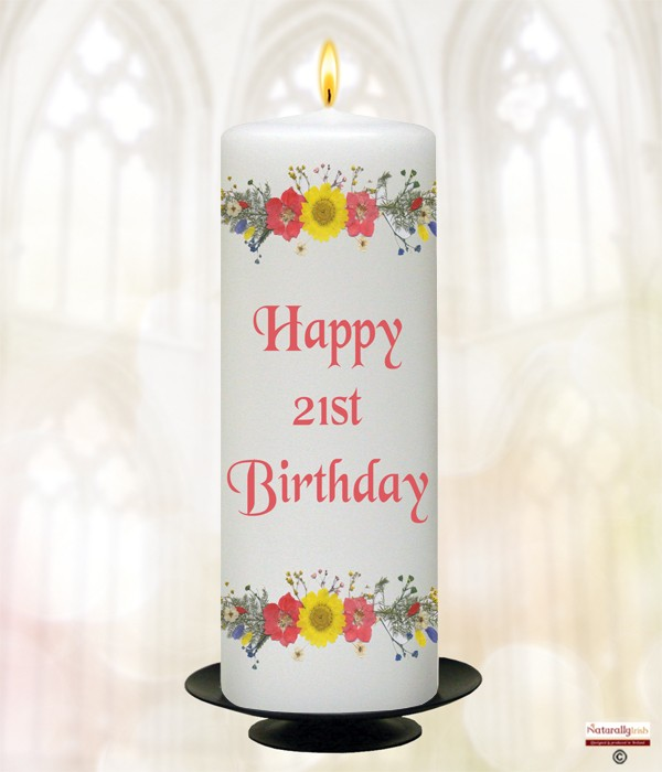 21st Birthday Daisies Candle (White) 9
