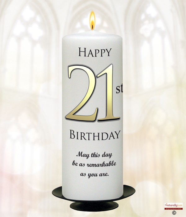 21st Birthday Delight Gold 9inch Candle