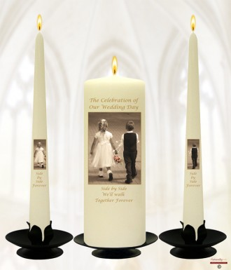 Young Love Gold Wedding Candles (Ivory)