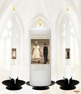 Young Love Gold Wedding Candles (White)