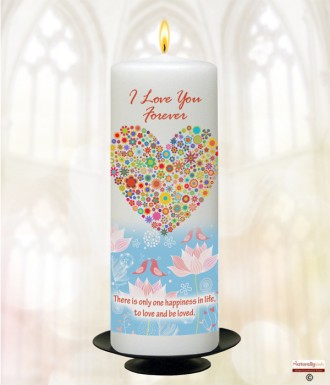 Hearts and Birds Love Candle