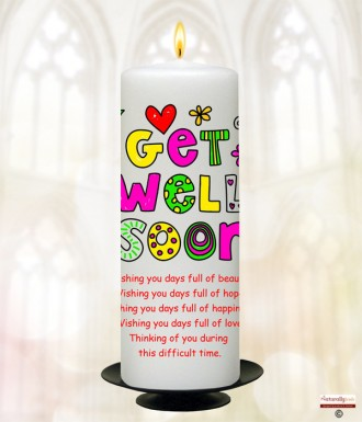Funky Get Well Soon Personalised Candle