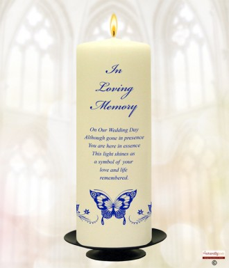 Blue Magestic Butterfly Wedding Remembrance Candle