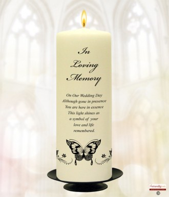 Black Magestic Butterfly Wedding Remembrance Candle