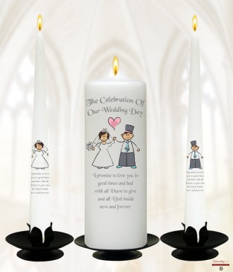 Happy Ever After Wedding Candles (White)