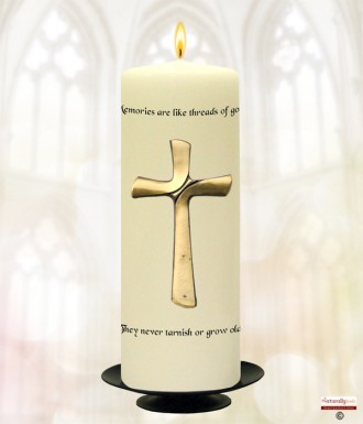 Large Cross Gold Wedding Remembrance Candle