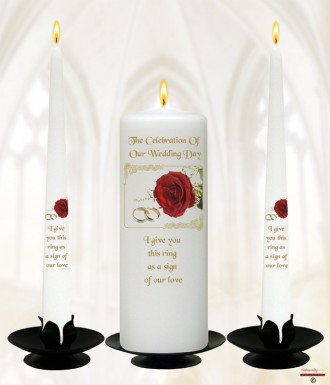 Red Roses & Gold Rings Wedding Candles (White)