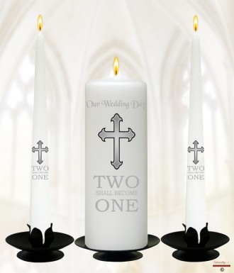 Two Shall Become One Silver Wedding Candles (White)