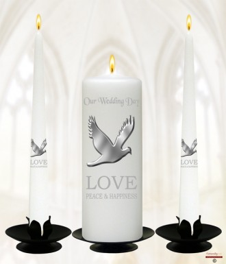 Love & Dove Silver Wedding Candles (White)