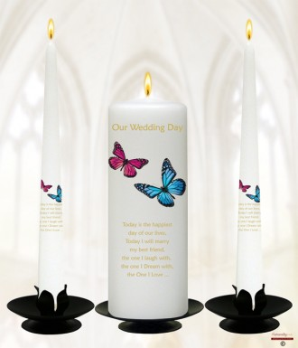 Pink & Blue Butterflies Gold Wedding Candles (White)