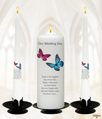 Pink & Blue Butterflies Silver Wedding Candles (White)