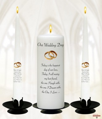 Elegant Gold Rings Wedding Candles (White)