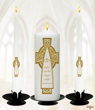 Celtic Cross Gold Wedding Candles (White)
