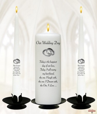 Elegant Silver Rings Wedding Candles (White)