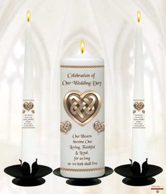Celtic Heart Gold Wedding Candles (White)