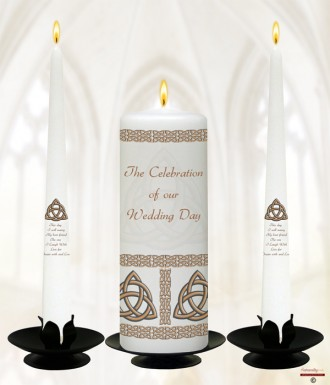 Trinity Knot Gold Wedding Candles (White)