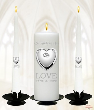 Heart & Rings Silver Wedding Candles (White)