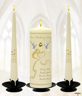 Two Hearts & Dove Wedding Candles (Ivory)