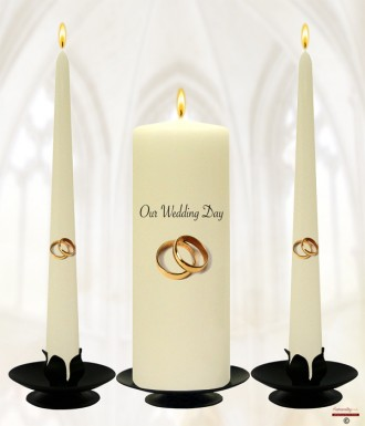 Simple Gold Wedding Rings Wedding Candles (Ivory)