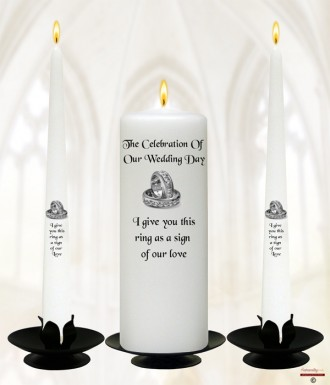 Wedding Silver Rings Wedding Candles (White)