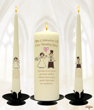 Happy Ever After Wedding Candles (Ivory)