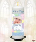Teddy & Toy Shelf Girl Photo Candle (White)
