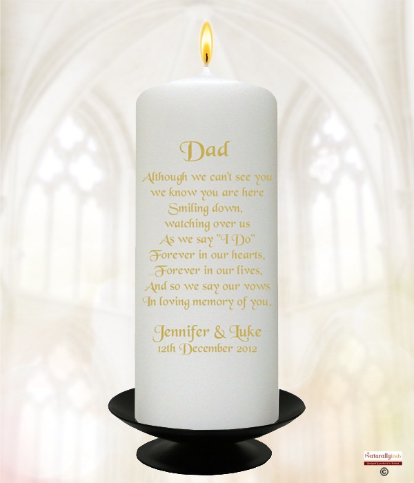 White Roses Gold Dad Wedding Remembrance Candle » Naturally Irish