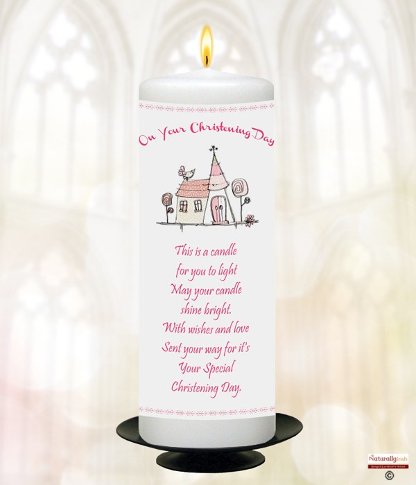 Church Pink Christening Candle