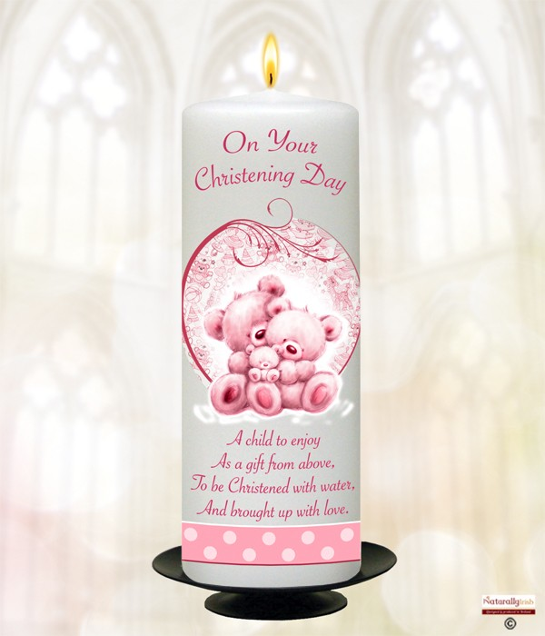Baby Teddy Pink Christening Candle