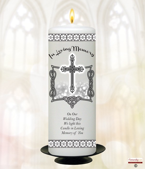 Celtic Silhouette Silver Wedding Remembrance Candle