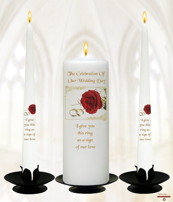 Red Roses & Gold Rings Wedding Candles