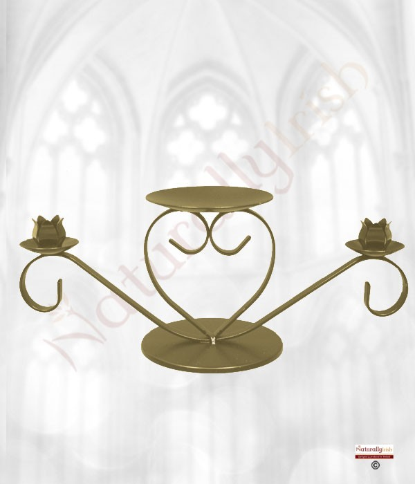 Heart Unity Candle Holder Gold