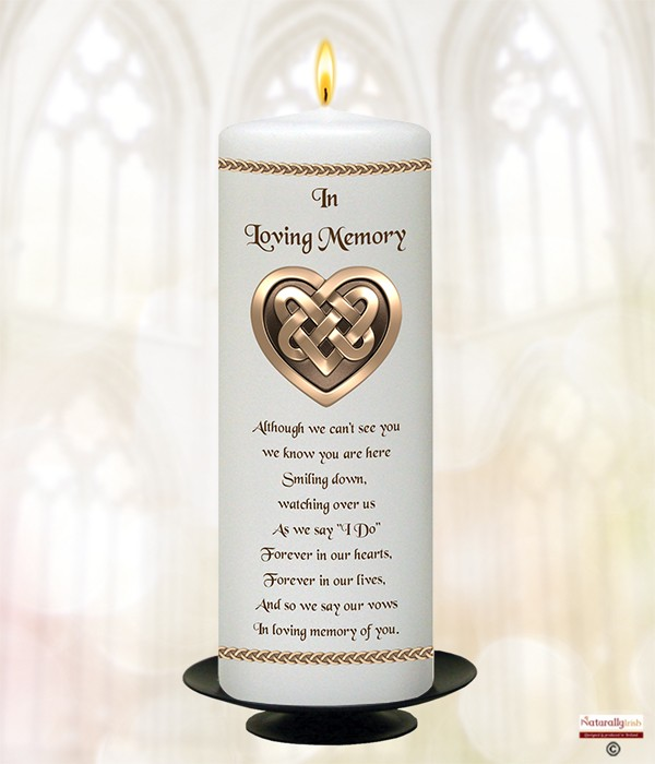 Celtic Heart Gold 9inch Remembrance Candle