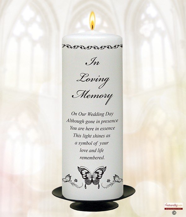 Butterflies Silver 9inch Remembrance Candle