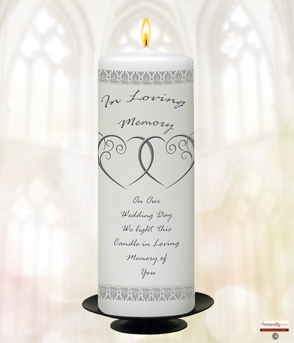 2 Entwined Hearts Silver 9inch Remembrance Candle