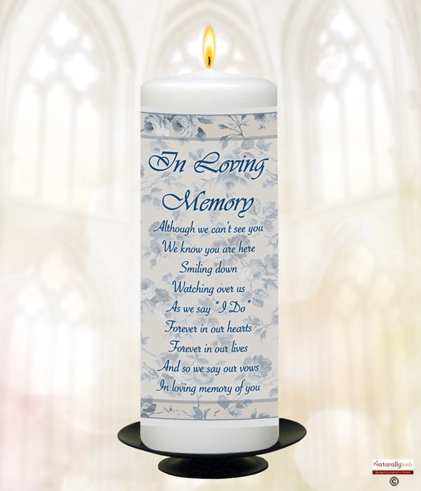 Blue & Cream Flower Frame 9inch Remembrance Candle