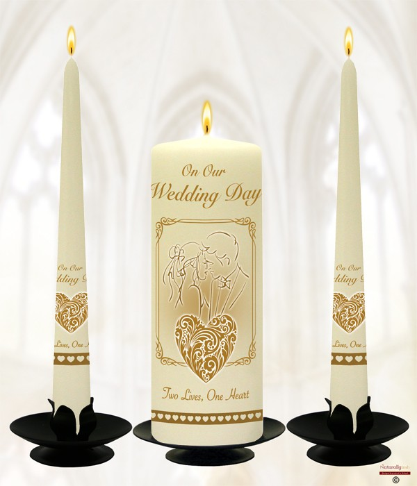 First Kiss Gold Wedding Candles