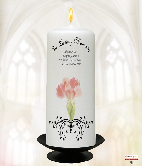 Bouquet & Hearts Silver Wedding Remembrance Candle