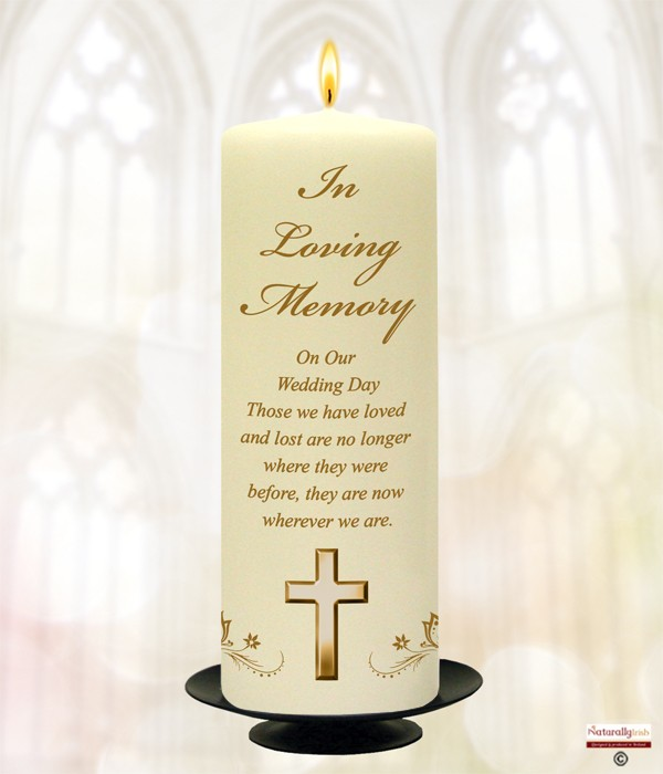 Butterfiles & Gold Cross Wedding Remembrance Candle