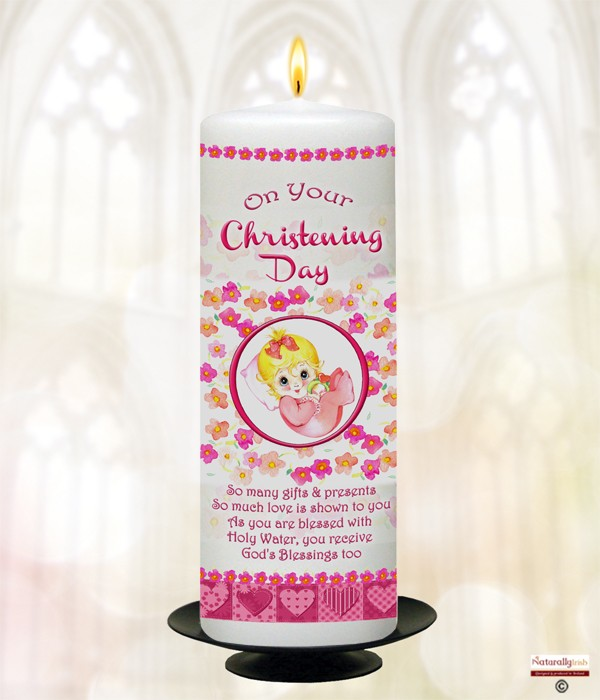 Baby & Rattle Pink Christening Candle